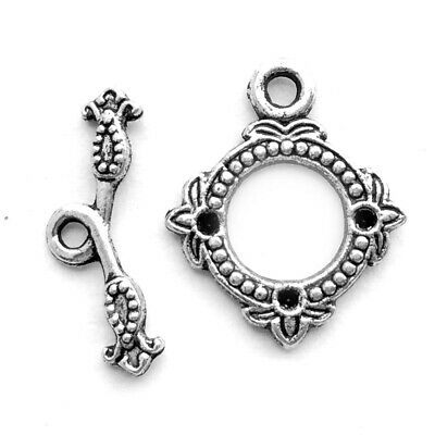 Antique Silver Plated Alloy 22x18mm Baroque Rhinestone Setting Toggle Clasps Q20