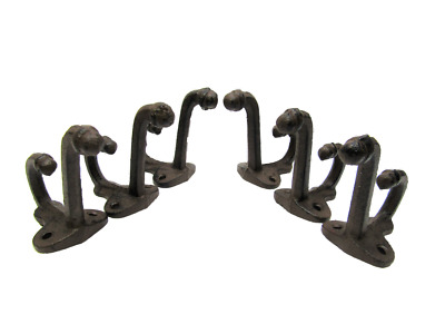 Lot 6 Antique-Style Acorn Rustic School Double Coat Hooks Cast Iron Wall