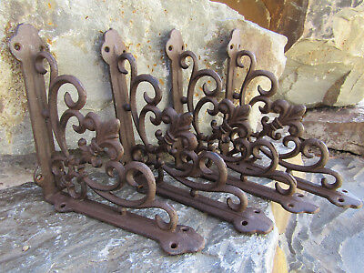 "Set of 4 Cast Iron Shelf BRACKETS New Antique Style Fleur De Lis 7.5"" x 7.5"""