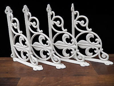 Set of 4 Cast Iron Shelf Brackets Antique Style 8.75 x 6.5in WHTE Fleur-De-Lis