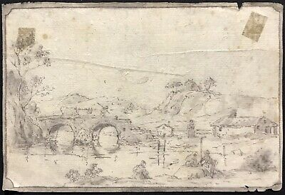 Fine 18Th/ 19Th Century Italian Old Master Drawing - Traveller Ancient Landscape