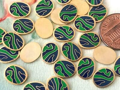 Vintage 8 x 10mm Green & Blue Gold Tone Metal Oval Cabs 20