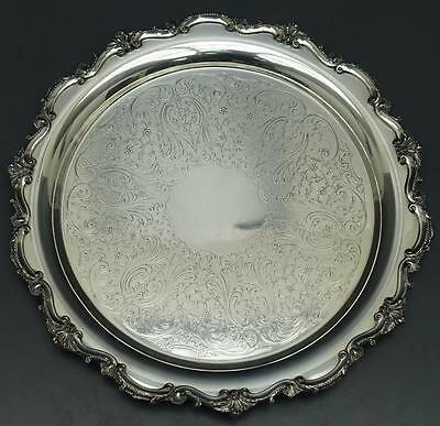 Bristol Silverplate by Poole Round Footed Serving Tray Platter 17""