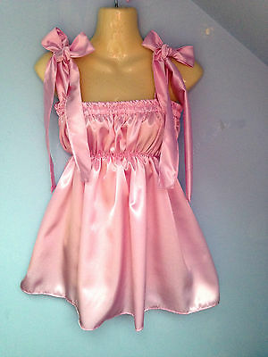 pink satin dress adult baby fetish sissy french maid cosplay fits 36-46 cd tv /.