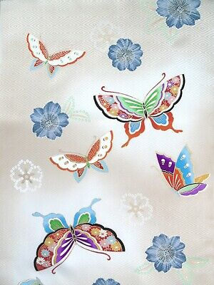 [AYANE] BUTTERFLIES BEIGE GRADATION (Sample) -   Japanese Silk KIMONO Fabric