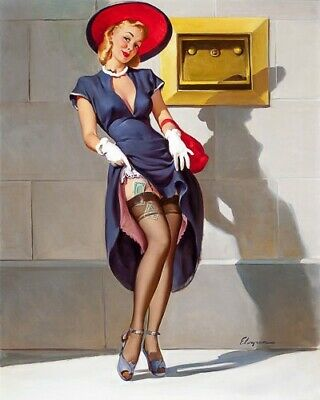 ELVGREN 8x10 PIN-UP GIRL ART PRINT-Wife Bouncy Breasts Lift Dress Panty #226 F1