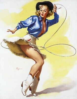GIL ELVGREN 8x10 PIN-UP GIRL ART MINT PRINT - Sexy Cowgirl/Babe/Legs/Cheesecake