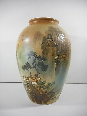 """Asian Vase Ceramic Hand Painted Signed 14"""""""