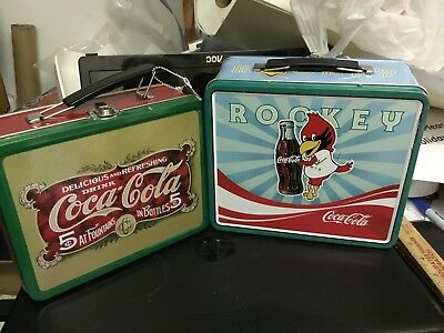 Pair of Coca Cola Coke Metal Lunch Boxes-Never Used...rp