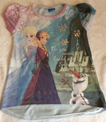 DISNEY FROZEN TOP 8 Yrs Sparkly T Shirt Worn Once