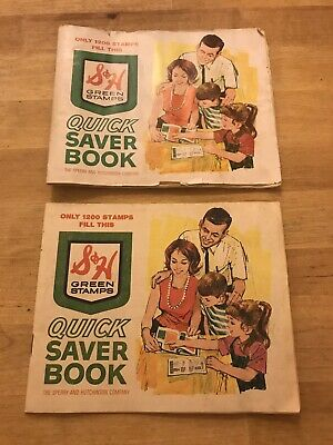 Vintage S&H Green stamps Quick Saver Books (2, Filled)