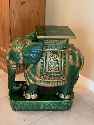"Vintage CHINESE Elephant TABLE Plant Stand EMERALD GREEN /GOLD 22"" RARE"