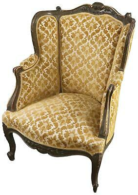 Arm Chair Louis Xv Rococo Yellow Brocade Velour Upholstery Painted Oak Wood