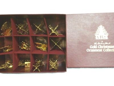 Danbury Mint 1985 Gold Christmas Ornaments Set of 12 with Box