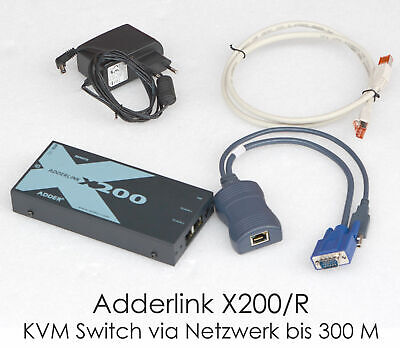 Adderlink X200/R KVM Switch over Network VGA USB over Lan Max 300 Meter 2x Pcs