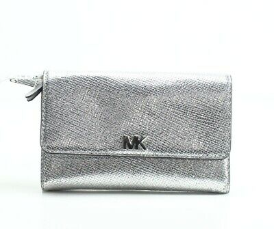 f93cd597fce3 Michael Kors NEW Silver Medium Multi-Function Trifold Leather Wallet  118-   072
