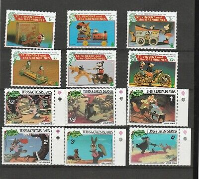 """Disney"" Stamps. 12 MUH Stamps from St. Vincent & Also Turks Caicos See Photos"
