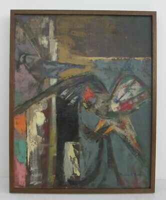 Pauline Graver Biskind (1897-1973) Signed Mid Century Abstract Bird Oil Painting