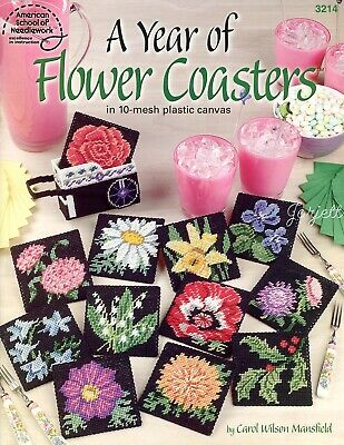 A Year of Flower Coasters & Flower Cart Holder plastic canvas pattern book NEW