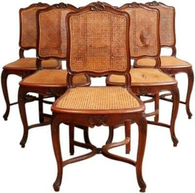 1930 Vintage Rococo Dining Chairs Set 6 Louis Xv  Flower Carved Walnut Cane