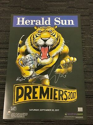 Dustin Martin Richmond Tigers Hand Signed 2017 Premiers Mark Knight Print Coa