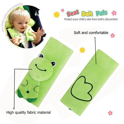 Infant Baby Car Seat Strap Covers,Stroller Belt Covers,Head Support,Green Frog