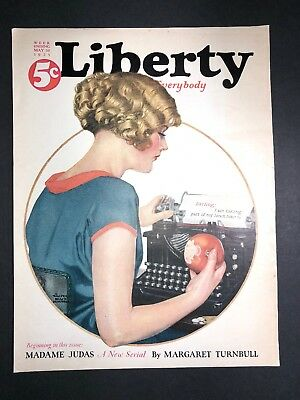 Pretty Flapper Girl Typewriter Art Cover Only Liberty Magazine 1925 Love Letter