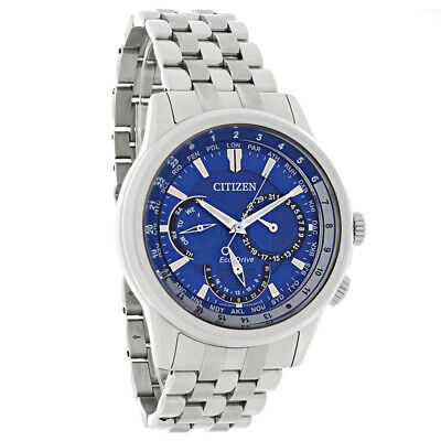 Citizen Eco-Drive Mens Calendrier Blue Dial World Timer Watch BU2021-51L