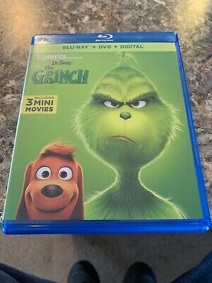Dr. Seuss' THE GRINCH 2019 Blu-Ray + DVD + Digital New