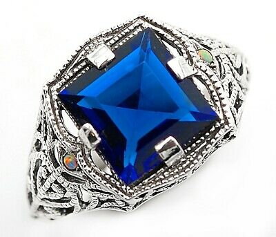2CT Blue Sapphire & Opal 925 Sterling Silver Art Deco Style Ring Jewelry Sz 7
