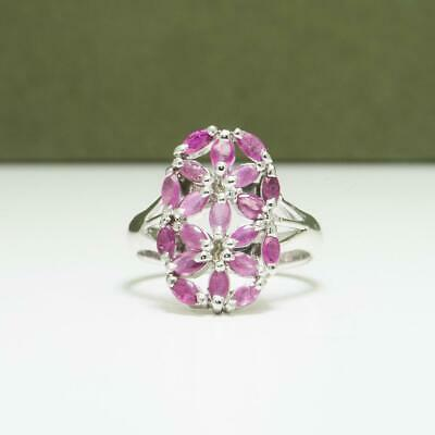 Beautiful Natural .72ctw Ruby 925 Sterling Silver Cluster Ring Size 7 4g