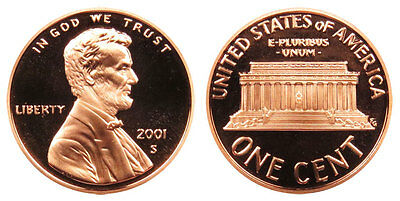 2001 S GEM BU PROOF Lincoln Memorial BRILLIANT UNCIRCULATED PENNY US COIN PF