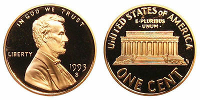 1993 S GEM BU PROOF Lincoln MemoriaL BRILLIANT UNCIRCULATED PENNY US COIN PF