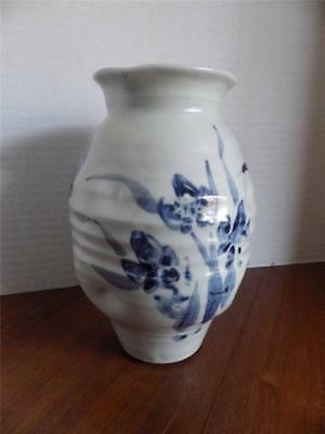 Beautiful Studio Pottery Vase Slip Painted Blue Iris Design on Gray 8""