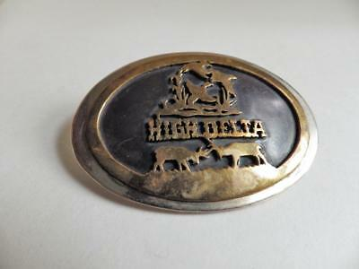 High Delta Belt Buckle Signed Layered Brass and Stainless Steel Elk Ducks