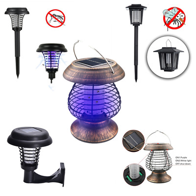 Solar Powered Outdoor Mosquito Fly Bug Insect Zapper Killer Trap Lamp Light HOME