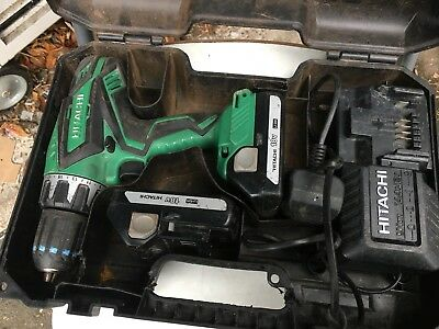 Hitachi DV 18DGL 18v Cordless Combi Drill with 2x 1.5A Batteries Used Good C