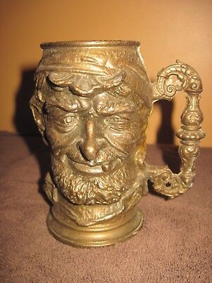 Very Heavy Solid Brass Stein with Decorative Old Seaman Face Design, 1 cup?
