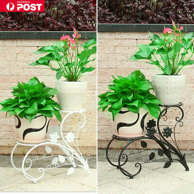 Outdoor Indoor Pot Plant Stand Garden Decor Flower Rack Wrought Iron Black AU