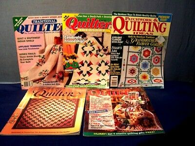 LOT of 4 VINTAGE QUILT MAGAZINES & 1 BOOKLET 1990's INSTRUCTIONS PATTERNS PHOTOS