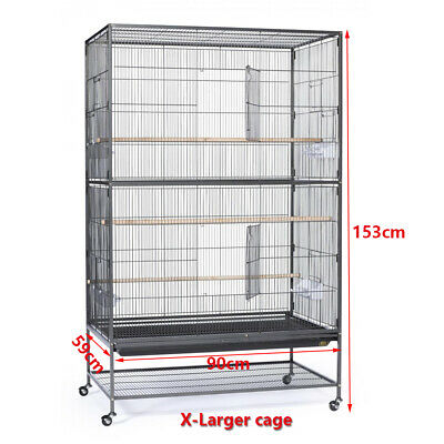 X-Large Metal Pet Bird Cage Parrot Canary Budgie Cage Aviary Wheels Stand Perch
