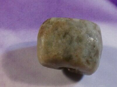 Ancient Pre-Columbian Mesoamerican Green Jade Worn Barrel Bead 15 By 10.7 Mm