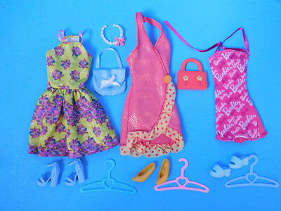 Barbie Doll Dress Outfit Lot 3 Dresses Shoes Purses and Accessory  Lot 6