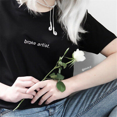 Girls Fashion Broke Artist Letter Pattern Round Neck Short Sleeve T-shirt Top LG