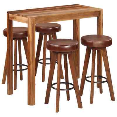 vidaXL Solid Sheesham Wood 5 Piece Bar Set Dining Room Furniture Stool Table