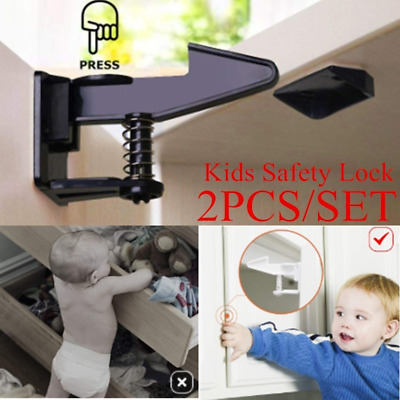 2pcs Baby Safety Children Protection Invisible Latch Drawer Door Cabinet Lock