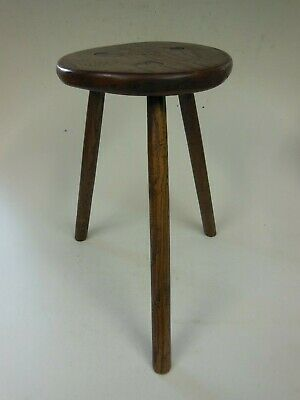 Rustic Wooden Milking Stool with Four Leaf Clover Design to Seat (Lot 2)
