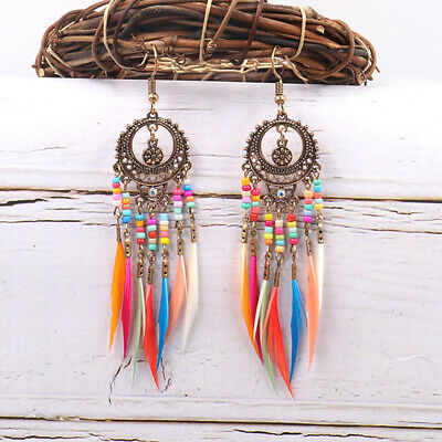 Female Earrings Ethnic Bohemian Feather Tassel Dangle Ear Hooks Drop Jewelry BS