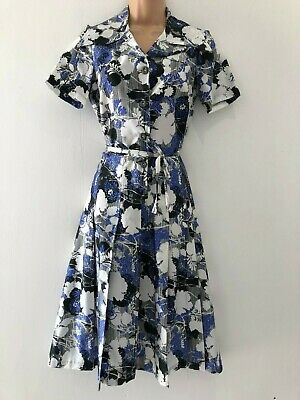 Vintage 70's White Blue Black Floral Print Belted Fit & Flare Day Dress Size 10