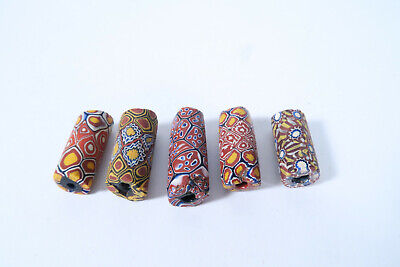5 Millefiori Glasperlen AM31 Old Venetian African trade beads Murrine Afrozip